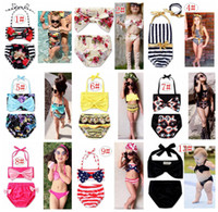 Wholesale Girls Childrens Swimwear - 2017 ins Girls Floral Swimwear Infant Halter Rompers Swimsuit Childrens Clothing Fashion Two-Pieces Bikinis Beach Bathing Suit Onesies
