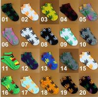 Wholesale Crew Socks Colors - Tenglongwl 20 colors Hot High Crew Socks Skateboard hiphop socks Leaf Maple Leaves Stockings Cotton Unisex Plantlife short Socks