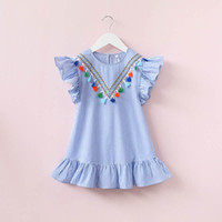 Wholesale whosale brand clothes resale online - 2017 whosale children summer clothes baby girl fly sleeve striped falbala princess party dress kids soft cotton frock design