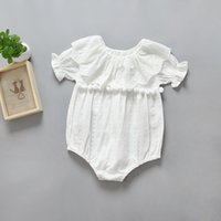 Wholesale Babys Clothes Free Shipping - Cute Toddle Wihte Tassel Bodysuits Summer Babys Princess Rompers Ruffles Kids Cotton Bodysuits Children Clothes Free Shipping