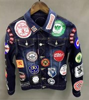 Wholesale Breast Products - Fashion brand Dsquared D2 new embroidery denim jacket men's body self-cultivation d2 denim clothing male jacket Product Code: 1611-1