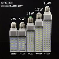 13w maiskolben großhandel-E27 G24 LED Birnen 5W 7W 9W 11W 13W 15W LED Maisbirne SMD 2835 Spotlight 85-265V Horizontal Plug Light