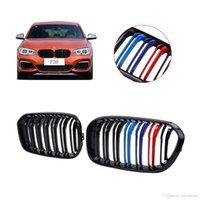 Wholesale bmw series black kidney grills - Auto Car Double Slat Front Kidney Grille Grill Lattice For BMW F20 LCI series i i i i i Black M Colored P511