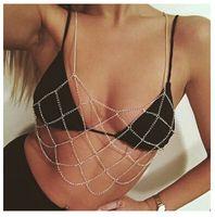 Wholesale Bra Jewelry Accessories - Women Boho Fashion Gold Silver Net Grid Tassel Harness Necklace Body Jewelry Sexy Bikini Belly Waist Metal Bra Chains Body Chain Accessories