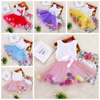 Wholesale Lolita Neck Flower - babies clothes Princess girls flower dress 3D rose flower baby girl tutu dress with colorful petal lace dress Bubble Skirt baby clothes