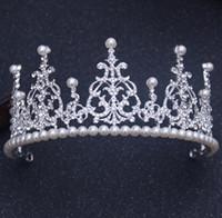 Wholesale Big Crown Cake - Bride headdress birthday big crown baby with Korean pearl hair ornaments wedding with makeup cake baking jewelry