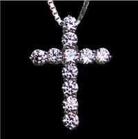 Wholesale platinum necklace cross resale online - High Quality Wedding Jewelry Sona Simulated Diamond Cross Necklace For Women Diamond Crossing Pendant
