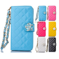 Wholesale Wholesale Iphone Phone Snap - For samsung s7 Case Multi-Function Wallet PU Card Slot Case Protable Chain Camellia snap Phone Holder samsung s6 Iphone 6 Case Opp Package
