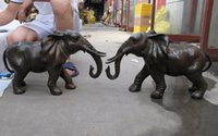 Chinese-Classical-Copper-Bronze-Lucky-peace-Two-Burma-Elephant-Art-Statue-Pair Chinese-Classical-Copper-Bronze-Lucky-peace-Two-Bur