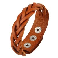Wholesale Diamond Braid Bracelet - Handmade Braided Five Strands Genuine Leather Rope Bracelets Punk Multicolor 23cm*2cm Adjustable Snap Button Bracelets For Men Women