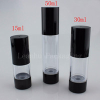 Wholesale glass airless pump bottle - 50ml empty black cream lotion travel bottles,30g airless pump cosmetics bottles ,15g empty lotion container with airless pump