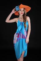 traje de baño sarong cubrir hasta al por mayor-Mujeres calientes del verano de la gasa de la playa pareos bufandas coloridas mantón de la playa cubren la envoltura de las mujeres para traje de baño cubrir traje de baño