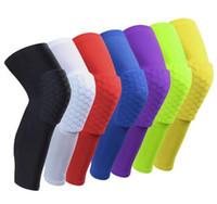 Wholesale Knee Sleeve Sock - 1 pc Logo Custom Honeycomb Padded Sock Sports Safety Basketball Kneepad Compression Sleeve Knee Brace Protector Knee Pad
