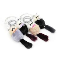 Wholesale Wholesale Mink Bags - Original New Keychain Cute Fluffy Raccoon Pom Pom Keychain Women Genuine Mink Fur Pompom Bear Keyring Toy Bag Charm Car Key Holder Gifts