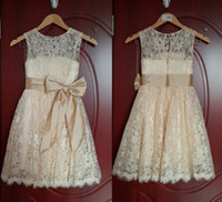 Wholesale Cute Beautiful Images - Lace A-Line Vintage Little Gril Dresses Sleeveless Jewel Ankel Length Beautiful Cute Big Bow Flower Gril Dresses