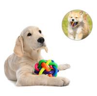 kedi gökkuşağı topları toptan satış-renkli pet eğitim top evcil köpek kedi ses çiğnemek oyuncak köpek chews elastik top oyuncak kedi ses eğitici oyuncaklar mini kauçuk gökkuşağı topu