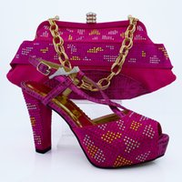Wholesale Women Matching Shoes Bags - CP63009 New Arrival FUCHSIA Color Shoes and Bag Set Decorated with Rhinestone High Quality Italian Shoe and Matching Bag Set for Wedding