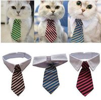 Wholesale Dress Shirts Neck Ties - Dog Grooming Cat Striped Bow Tie Animal Striped Bowtie Collar Pet Adjustable Neck Tie White Collar Dog Necktie For Party Wedding