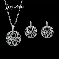 Jóias de casamento de luxo conjuntos Antique Silver Color Chain com esmalte preto Rhinestone Round Pendant Necklace e Drop Earrings