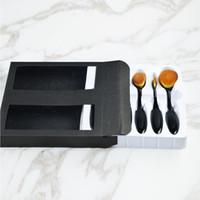 Wholesale Black Fee - MC Black Foundation Makeup Brushes 6pcs Set Brushes Contour Kit All Makeup Eye Shadow Cream Puff Oval Blending Toothbrush With Fee Lipstick