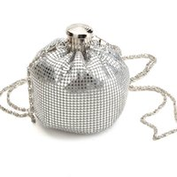 Wholesale Evening Clutch Bags Womens - Wholesale-Small Evening Chain Bags Shinning Womens Shoulder Handbags Wedding Party LadyMini Day Clutches Round Design Crossbody Bag