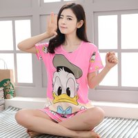 Wholesale Kitty Girl S Sets - Hello Kitty Monkey Rabbit Pijama Feminino For Women 2017 Summer Women Pajama Sets Girls Monkey Milk Cotton Sleepwear Sets