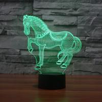 UK usb desk led - Wholesale- 7Colors Changing 3D LED Animal Nightlights Paint Horse Zebra Desk Table Lamp USB Bedside Touch Lamps Home Horse Decoration