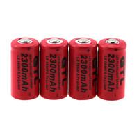 Wholesale C Alkaline Battery - echargeable battery 4PCS x 2300mah GTL 16340 3.7V Li-ion Rechargeable Battery CR123A CR123 Batteries For Headlamp Laser Pen Flashight E-c...