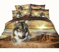 Wholesale Queen Pillowcases - 3 Styles Setting Sun Desert Wolf 3D Printed Bedding Sets Twin Full Queen King Size Duvet Covers Pillowcase Comforter Animal Moon Bat Fashion