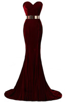black velvet evening dress - Hot Sale In Stock Sweetheart Neck Mermaid Evening Dresses Velvet Burgundy Metal Belt Formal Evening Gowns Prom Dresses