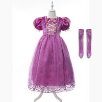 Купить Детские Костюмы-Девушки Rapunzel Fancy Costume Kids Princess Outfit Cosplay Dress для девочки Tangled Princess Dress Purple Tulle Dress Puff Sleeve