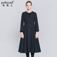 Wholesale Dark Blue Wool Skirt - POKWAI Winter Long Wool Coat Women Draped Blends 2017 Single Breasted Skirt Overcoats Full Sleeve V-Neck Dark Blue Female Parka