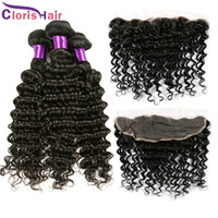 13x4 Lace Frontal Closure With Bundles Raw Deep Wave Indian Cheveux Avec Fermeture Deep Curly Lace Front Closure Pieces