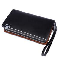 Wholesale Brand New Handbag Price - Wholesale- Dollar Price 2015 New Brand Men Standard Wallets 100% Genuine Leather Long Zipper Wallet Male Clutch Handy Bags Purses Handbags