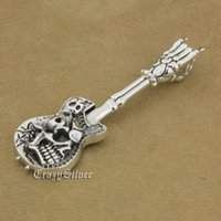 Wholesale Skull Hand Pendant - LINSION 925 Sterling Silver Hand Bone Skull Guitar Pendant Mens Biker Rock Punk Style 9M022 Just Pendant