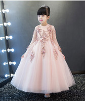 Wholesale Cotton Wedding Flowers - New Arrival Pink Tulle Exquisite Lace Flower Girl Dress Ankle Length Baptism Party Prom Princess dress Girls Wedding Birthday Gown