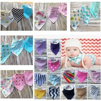 Wholesale Toddler Boy Scarves - INS Baby Cartoon Bibs Waterproof Cotton Double Layer Bibs For Baby Boys Girls Feeding Cloths Animal Print Toddler Triangle Scarf Accessory