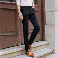 Wholesale Slim Fit Work Suit - Wholesale- 2016 Fashion Men's Skinny Suit Pants New Casual Designer Slim Fit Pants Man Work Formal Dress Pants Male Black Long Trousers