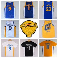 Top / High 9 Andre Iguodala Jersey 2017 Final Parche 11 Klay Thompson 23 Draymond Verde Basketball Jerseys Todo cosido Azul Blanco Amarillo