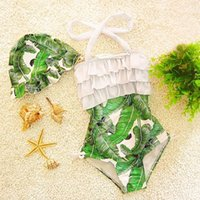 Wholesale Ff Piece - Girls One-Pieces Swimsuit 2017 Korean Girl Swimwear Baby Swimsuit Ruffle Bow Princess Swim Cute Clothing FF-061