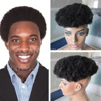Wholesale American Curls Hair - Africa American Toupee 6inch 1B Virgin Indian Hair Short Afro Curl Toupees for Black Men Free Shipping