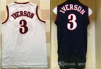 Wholesale Polyester Fabric Names - 2017 high quality Low price Men's IVERSON # 3 Black White Running Jerseys Embroidery Logo With Name Mix order new fabrics retro Jerseys