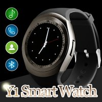 Wholesale Outdoor Watch Faces - Y1 Smart Watch Latest Round Touch Screen Round Face Smartwatch Phone with SIM Card Slot Smart watches for IOS Android in Retail Package