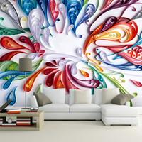 papel pintado de papel de revestimiento al por mayor-Al por mayor-Custom 3D Mural Wallpaper para pared arte moderno creativo colorido Floral abstracta línea pintura papel de pared para sala de estar dormitorio