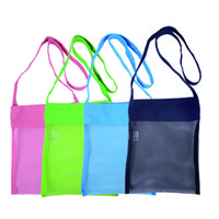 Wholesale Seashell Bags - DHL Shipping 100pcs lot Mesh Seashell Bags 4 Colors Kids Tote Bags Durable Child Beach Bag Mesh Tote Bags Hot Sale