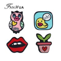 Wholesale Enamel Owl Pin - FANHUA 4pcs set New Lovely Colorful Enamel OwL Lip Plant Small Duck LOVE Letter Brooches Fashion Accessories