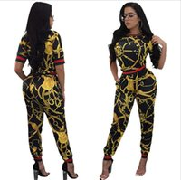 Wholesale African Pants - 2018 New Vintage African Traditional Style Two Pieces Women Jumpsuits Half Sleeve Top Long Bodycon Pants Ladies Romper