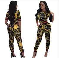 ingrosso cime tradizionali lunghe-2018 New Vintage African Traditional Style Due pezzi Tute da donna Mezza manica Top Pantaloni aderenti lunghi Pagliaccetto da donna