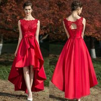 Wholesale Classic Dresses For Womens - Red Carpet Dress For Womens Lace Up Crew Neck Applique Hi-Lo Prom Dresses Sleeveless Hot Selling Formal Party Gowns Customized