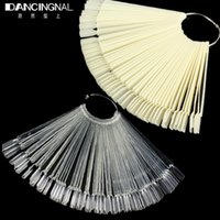Wholesale Kits Sticks Nail Art - Wholesale- Pro 50pcs Natural False Nail Art Tips Display Sticks Polish Fan Practice Board Kit Clear White For DIY Salon Manicure Tools